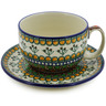 13 oz Stoneware Cup with Saucer - Polmedia Polish Pottery H5173J