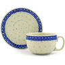 13 oz Stoneware Cup with Saucer - Polmedia Polish Pottery H5828E