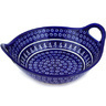 14-inch Stoneware Bowl with Handles - Polmedia Polish Pottery H0946D