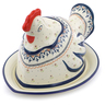 14-inch Stoneware Dish with Hen Cover - Polmedia Polish Pottery H1468J