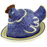 14-inch Stoneware Dish with Hen Cover - Polmedia Polish Pottery H2489D