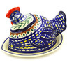 14-inch Stoneware Dish with Hen Cover - Polmedia Polish Pottery H8905E