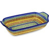 14-inch Stoneware Rectangular Baker with Handles - Polmedia Polish Pottery H2023D