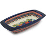 14-inch Stoneware Rectangular Baker with Handles - Polmedia Polish Pottery H8934B