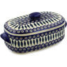 15-inch Stoneware Baker with Cover with Handles - Polmedia Polish Pottery H2670K