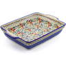 15-inch Stoneware Rectangular Baker with Handles - Polmedia Polish Pottery H3210J