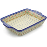 15-inch Stoneware Rectangular Baker with Handles - Polmedia Polish Pottery H3991J