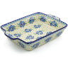 15-inch Stoneware Rectangular Baker with Handles - Polmedia Polish Pottery H4131J