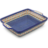 15-inch Stoneware Rectangular Baker with Handles - Polmedia Polish Pottery H4234J