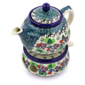 15 oz Stoneware Tea or Coffe Pot with Heater - Polmedia Polish Pottery H0571I