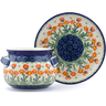 16 oz Stoneware Bouillon Cup with Saucer - Polmedia Polish Pottery H5340A