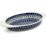 17-inch Stoneware Oval Baker with Handles - Polmedia Polish Pottery H0217E