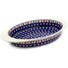17-inch Stoneware Oval Baker with Handles - Polmedia Polish Pottery H4788E