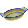 18-inch Stoneware Oval Baker with Handles - Polmedia Polish Pottery H1882D
