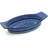 18-inch Stoneware Oval Baker with Handles - Polmedia Polish Pottery H5912J