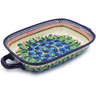 18-inch Stoneware Rectangular Baker with Handles - Polmedia Polish Pottery H1452J