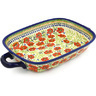 18-inch Stoneware Rectangular Baker with Handles - Polmedia Polish Pottery H9814G
