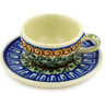 3-inch Stoneware Mini Cup and Saucer - Polmedia Polish Pottery H1445D