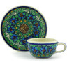 3-inch Stoneware Mini Cup and Saucer - Polmedia Polish Pottery H5747G