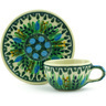 3-inch Stoneware Mini Cup and Saucer - Polmedia Polish Pottery H6055G