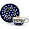 3-inch Stoneware Mini Cup and Saucer - Polmedia Polish Pottery H9802A