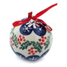 3-inch Stoneware Ornament Christmas Ball - Polmedia Polish Pottery H7629H
