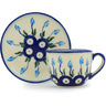 3 oz Stoneware Espresso Cup with Saucer - Polmedia Polish Pottery H0953H