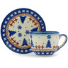 3 oz Stoneware Espresso Cup with Saucer - Polmedia Polish Pottery H9941H