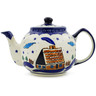 34 oz Stoneware Tea or Coffee Pot - Polmedia Polish Pottery H5130C