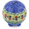 4-inch Stoneware Ball Piggy Bank - Polmedia Polish Pottery H0655G