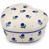 4-inch Stoneware Heart Shaped Jar - Polmedia Polish Pottery H2716B