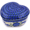 4-inch Stoneware Heart Shaped Jar - Polmedia Polish Pottery H3777A