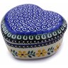 4-inch Stoneware Heart Shaped Jar - Polmedia Polish Pottery H3780A