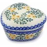 4-inch Stoneware Heart Shaped Jar - Polmedia Polish Pottery H3784A
