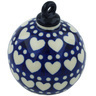 4-inch Stoneware Ornament Christmas Ball - Polmedia Polish Pottery H1617H