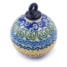 4-inch Stoneware Ornament Christmas Ball - Polmedia Polish Pottery H2808J