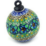 4-inch Stoneware Ornament Christmas Ball - Polmedia Polish Pottery H3722G