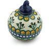 4-inch Stoneware Ornament Christmas Ball - Polmedia Polish Pottery H4034A