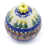 4-inch Stoneware Ornament Christmas Ball - Polmedia Polish Pottery H4508J