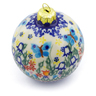 4-inch Stoneware Ornament Christmas Ball - Polmedia Polish Pottery H4510J