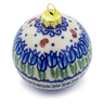4-inch Stoneware Ornament Christmas Ball - Polmedia Polish Pottery H4512J