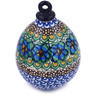 4-inch Stoneware Ornament Christmas Ball - Polmedia Polish Pottery H5561G