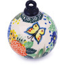 4-inch Stoneware Ornament Christmas Ball - Polmedia Polish Pottery H5565G