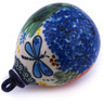 4-inch Stoneware Ornament Christmas Ball - Polmedia Polish Pottery H5958G