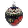 4-inch Stoneware Ornament Christmas Ball - Polmedia Polish Pottery H9557B