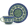 4 oz Stoneware Cup with Saucer - Polmedia Polish Pottery H1162B
