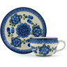 4 oz Stoneware Cup with Saucer - Polmedia Polish Pottery H1238B