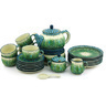40 oz Stoneware Dessert Set for 6 with Heater - Polmedia Polish Pottery H5338G