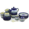 40 oz Stoneware Dessert Set for 6 with Heater - Polmedia Polish Pottery H6724G