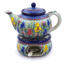 40 oz Stoneware Tea or Coffe Pot with Heater - Polmedia Polish Pottery H3021I